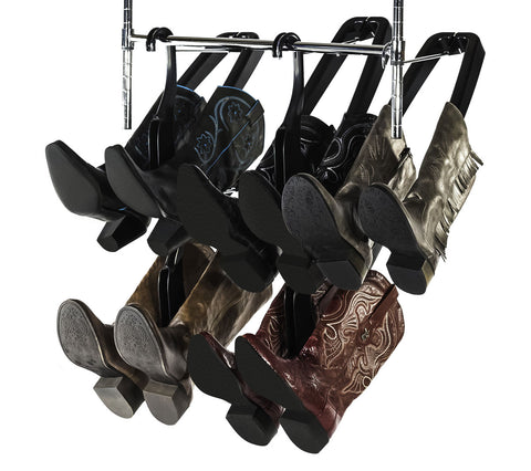 Our Boot Butler boot rack is a genius way to store your distressed leather boots because it gently cradles your boots from the inside, so there is no risk of leaving a marks.