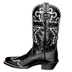 Black cowboy boot with ornamental stitching