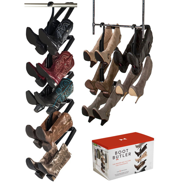Boot Butler Boot Rack, 5-Pair Hanging Organizer & Shaper