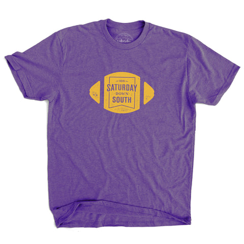Purple and Gold Collection - Football Badge Short Sleeve Vintage T-shirt