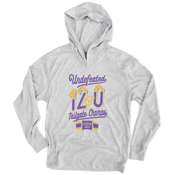 Purple and Gold Collection - Tailgate Champs Long Sleeve Hoodie T-shirt
