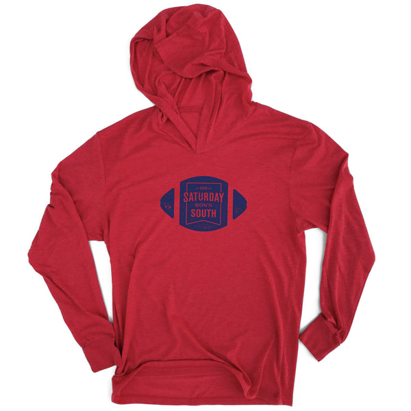 Red and Blue Collection - Football Badge Long Sleeve Hoodie T-shirt