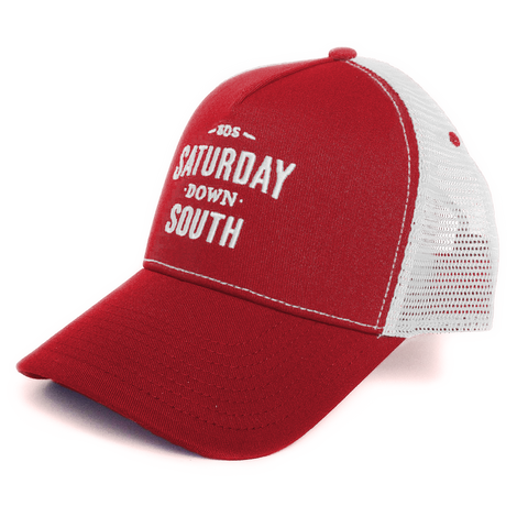 Crimson / Cardinal Collection - Red and White SDS Logo Southern Trucker Hat