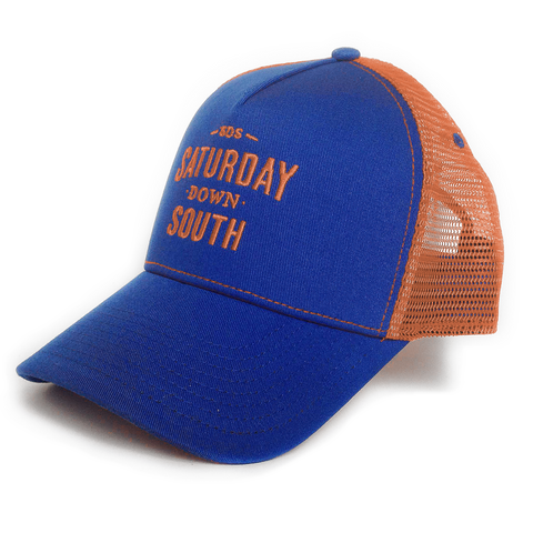 Orange and Blue Collection - Royal and Orange SDS Logo Southern Trucker Hat