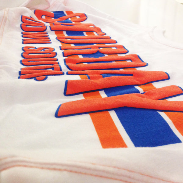 Orange and Blue Collection - Gainesville, FL - Football Stripe Womens Comfort Jersey