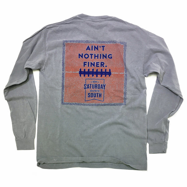 Orange and Blue Collection - Leather and Lace long sleeve pocket t-shirt