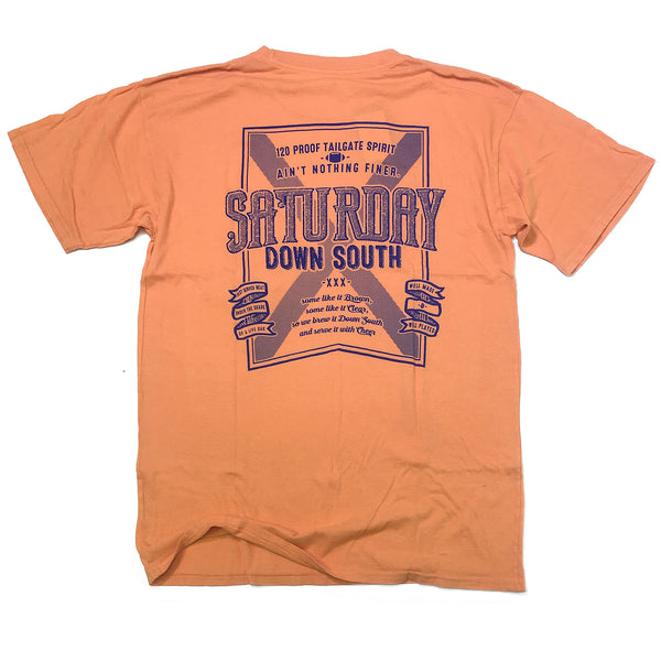 Orange and Blue Collection - Brown or Clear pocket t-shirt