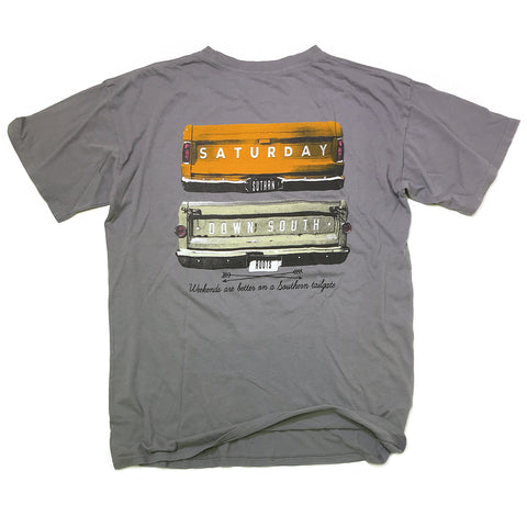 Orange and White Collection - Gates of Glory pocket t-shirt (gray)