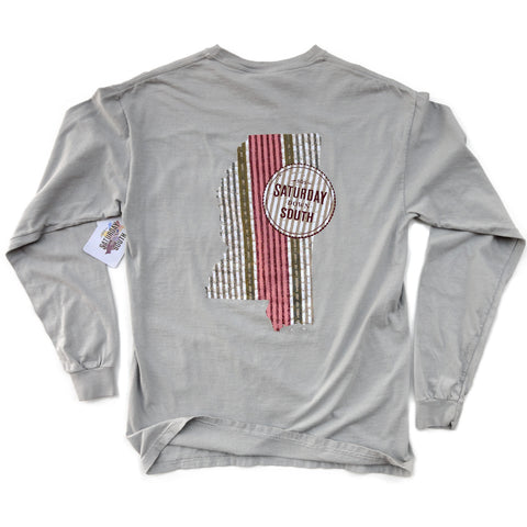 Maroon Collection - Starkville, MS - Seersucker State Long Sleeve Comfort T-shirt