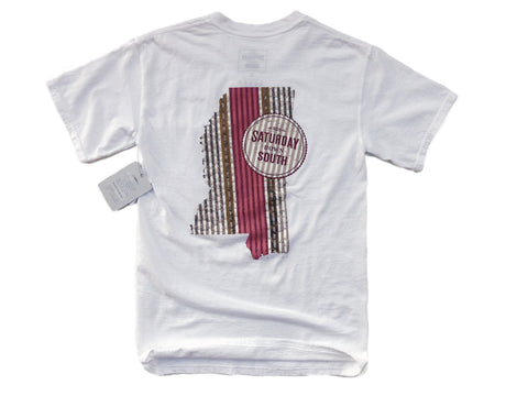 Maroon Collection - Starkville, MS - Seersucker State Short Sleeve Pocket T-shirt
