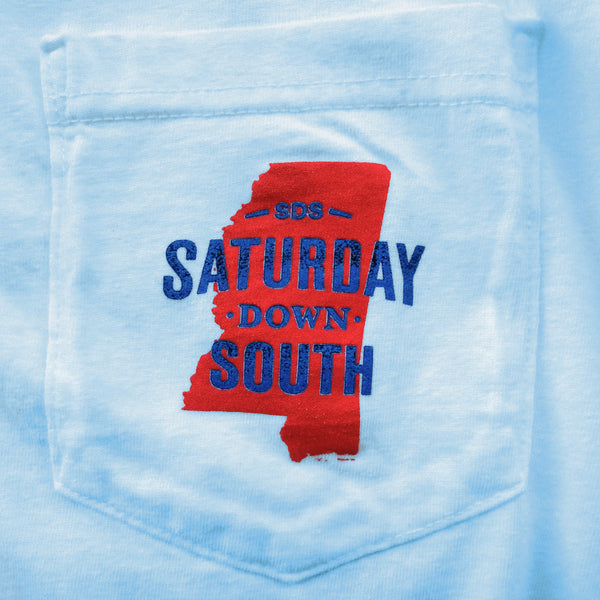 Red and Blue Collection - Oxford, MS - Seersucker State Short Sleeve Pocket T-shirt