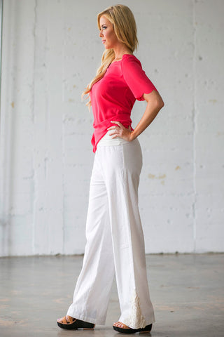 White Linen Crochet Pants
