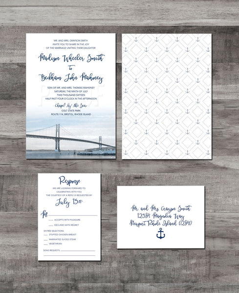 Mount Hope Bridge Wedding Invitation | Bristol, Rhode Island