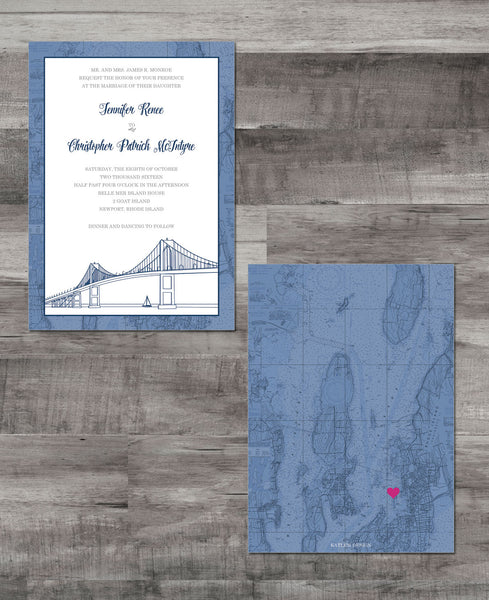 NEWPORT NAUTICAL CHART INVITATION SUITE