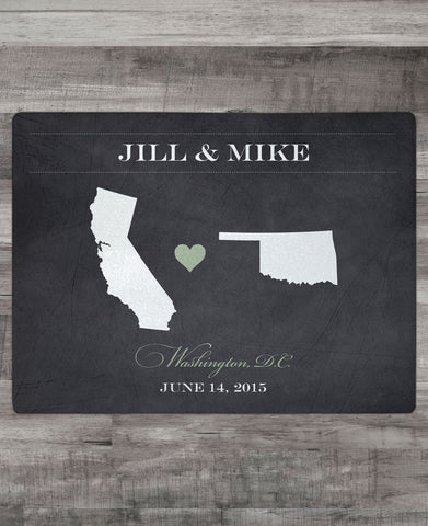 Map Cutting Board - Bride & Groom