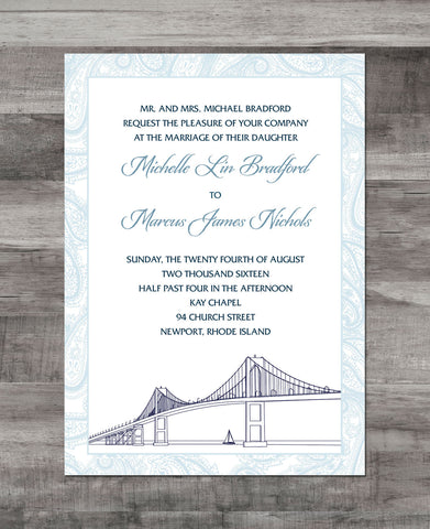 NEWPORT BRIDGE & PAISLEY BORDER INVITATION SUITE