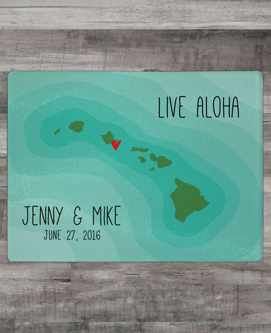 """Live Aloha"" Cutting Board with names"