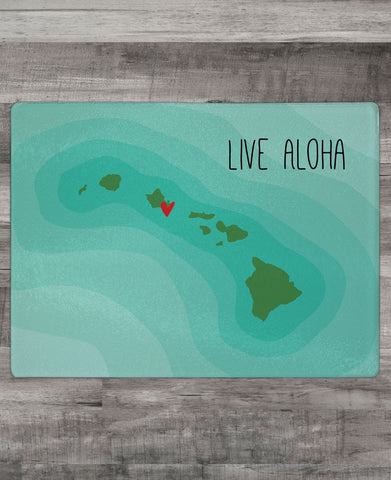 """Live Aloha"" Cutting Board"