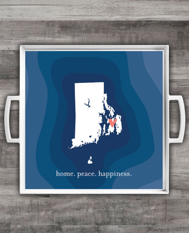"""Home. Peace. Happiness."" Square Melamine Serving Tray"
