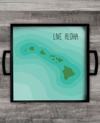 """Live Aloha"" Square Melamine Serving Tray"