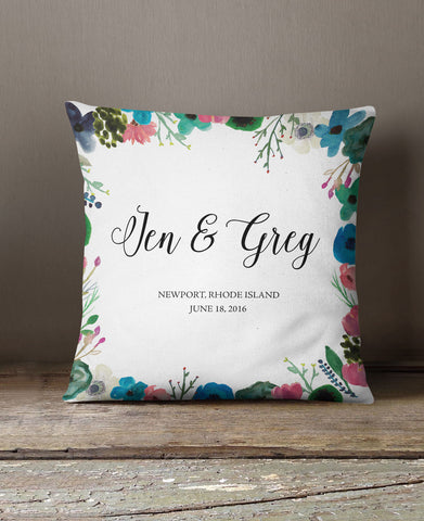 WATER COLOR FLOWERS PILLOW