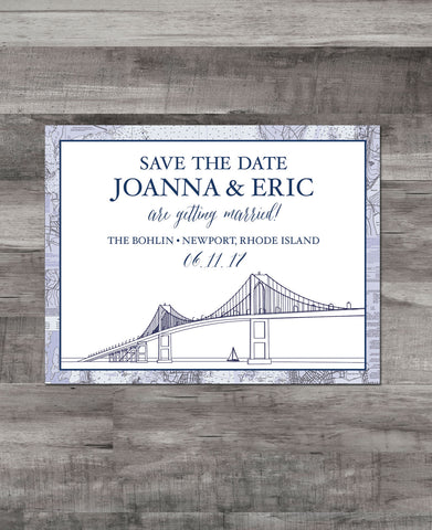 NEWPORT BRIDGE + NAUTICAL CHART BORDER SAVE THE DATE