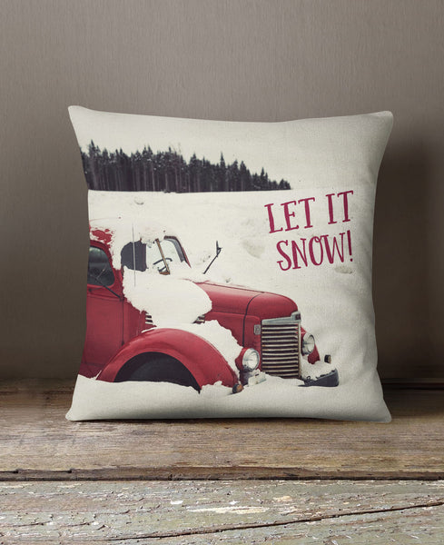VINTAGE RED TRUCK PILLOW