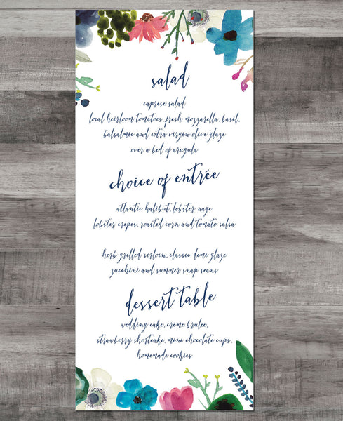 WATERCOLOR FLOWER MENU