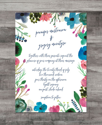 WATERCOLOR FLOWER BORDER INVITATION SUITE