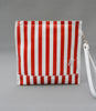 Red leather stripe sweetshop clutch bag