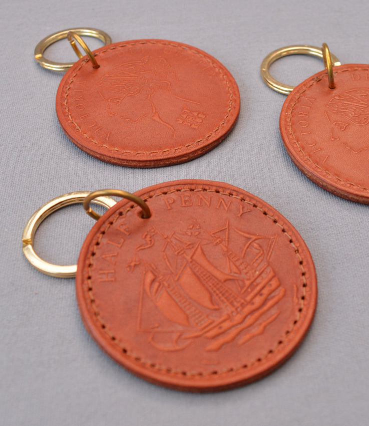 Leather half penny keyrings