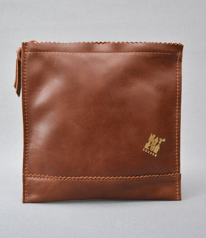 Leather Sweetshop clutch bag in Brown