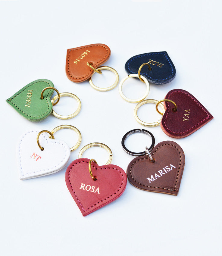 Personalised small Heart Keyrings