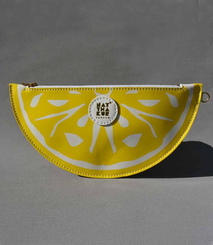 Leather Lemon Clutch