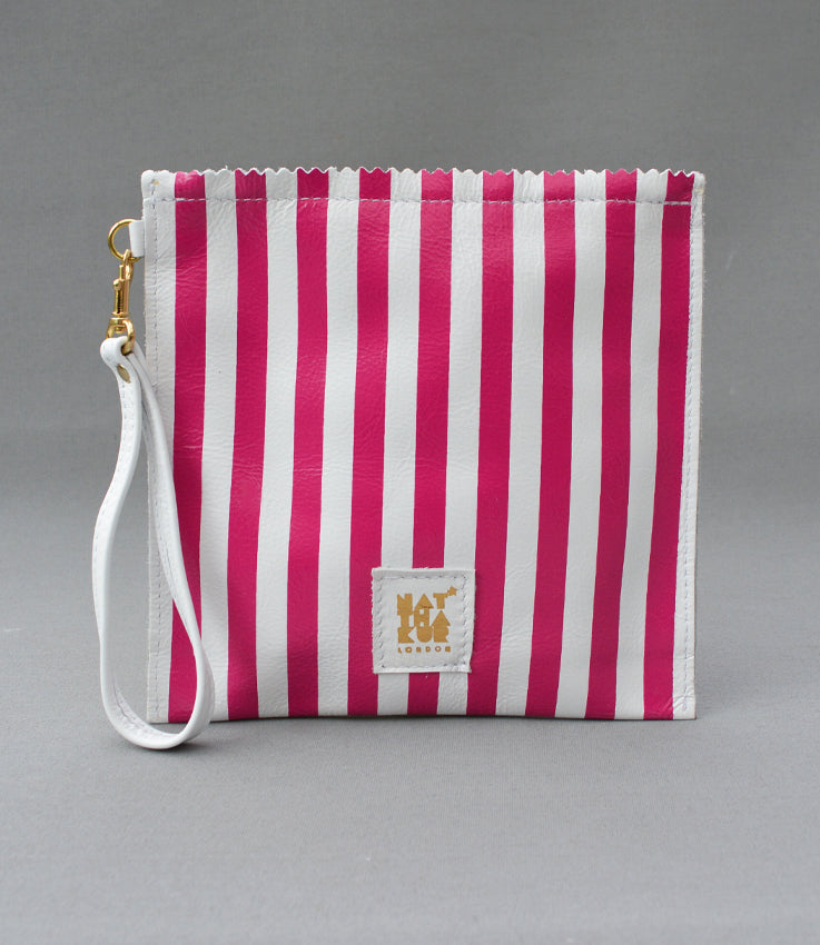 Leather Sweetshop clutch bag in pink stripe