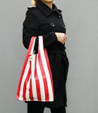 Leather Striped Grocery Bag in red striped