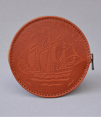Tan Half Penny Coin Purse