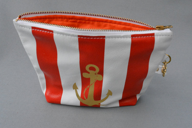 Anchor purse in red stripe