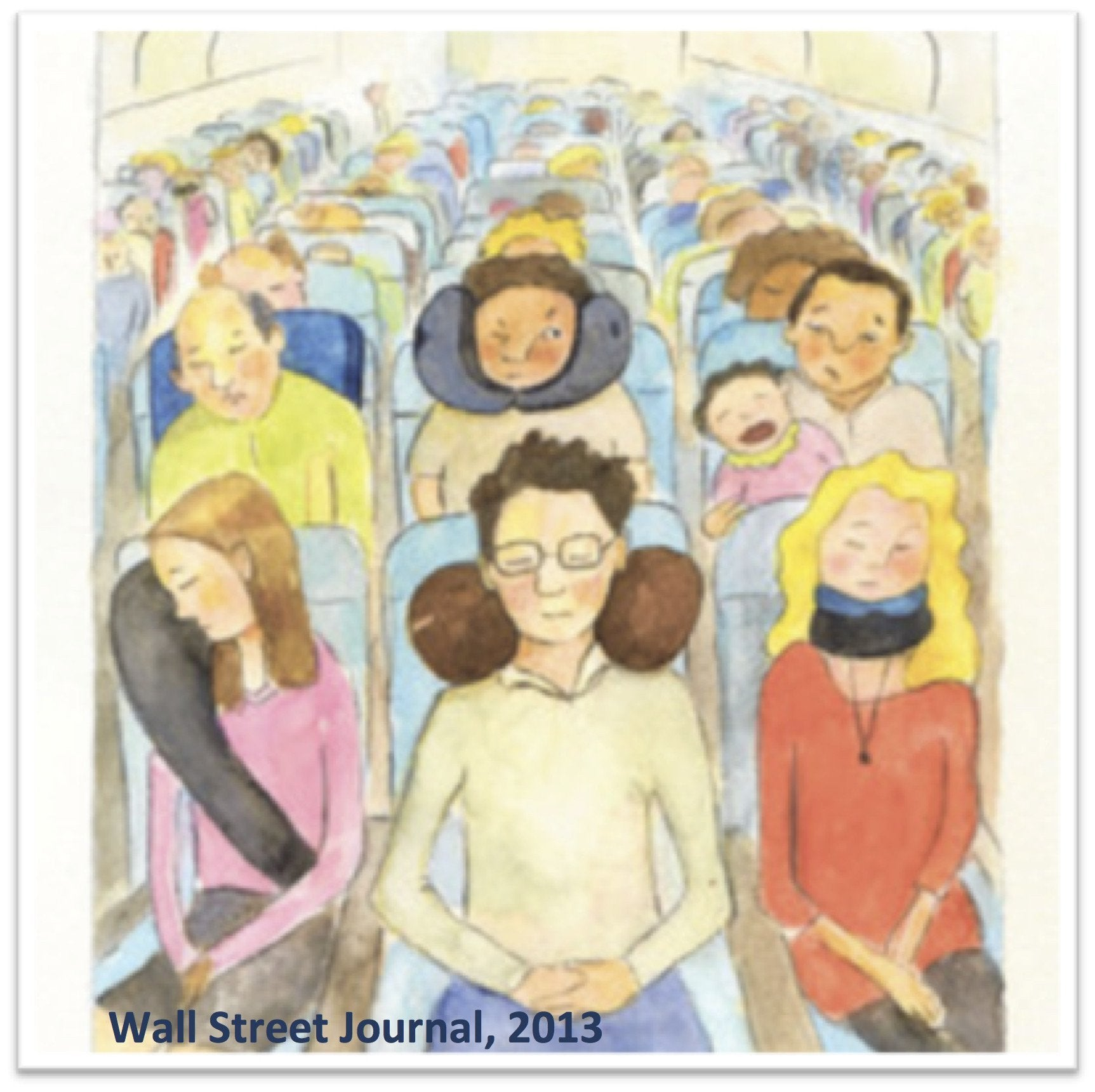 An illustration of passengers on an airplane using a variety of travel pillows