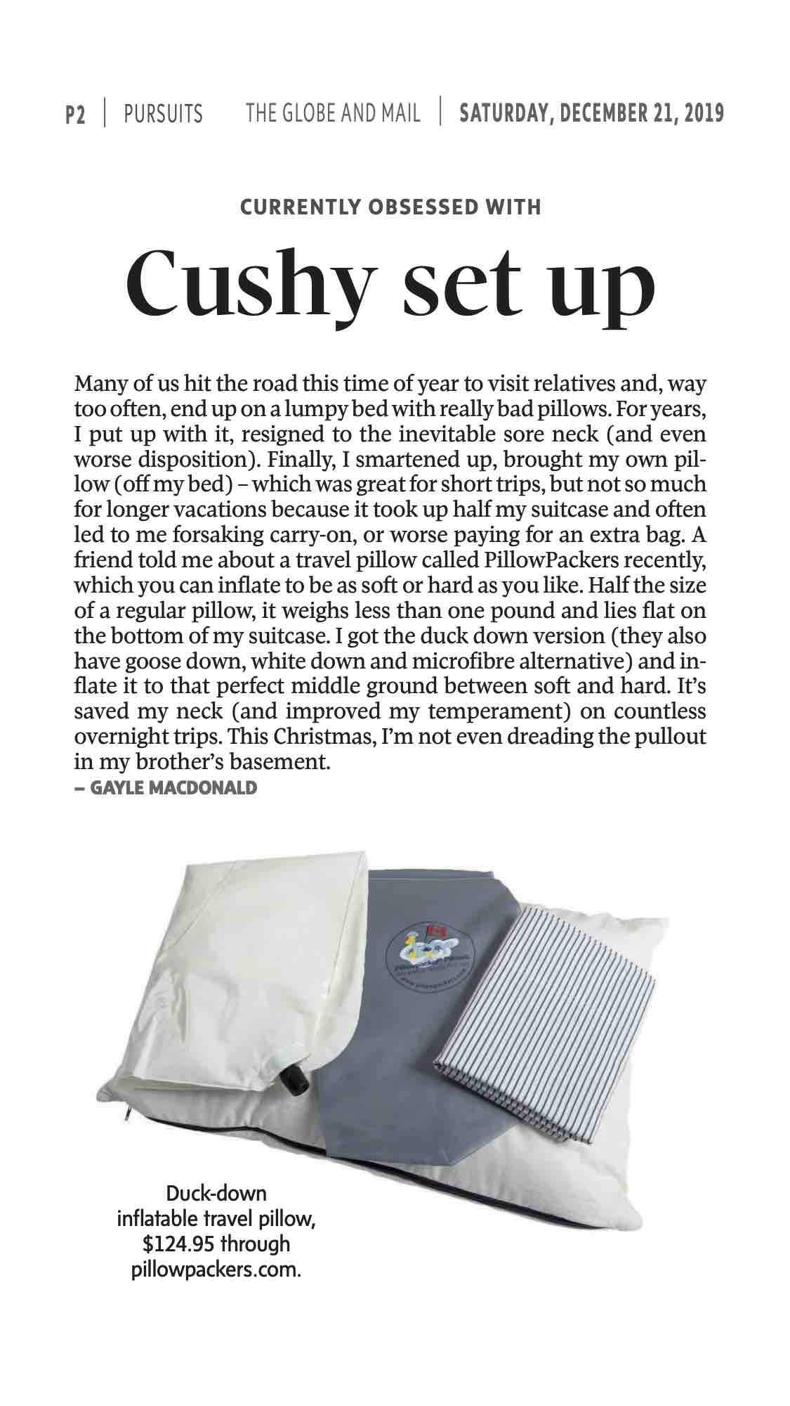 Globe and Mail Travel Writer Likes Pillowpacker Pillows