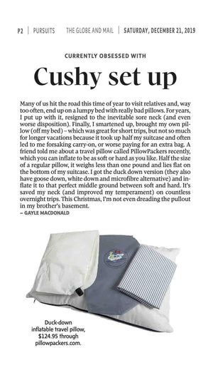 A Pillowpacker pillow featured in the Globe and Mail