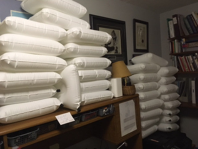 A stack of pillowpackers inflatable liners during testing