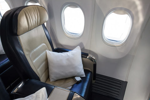 a pillowpacker pillow onboard a plane