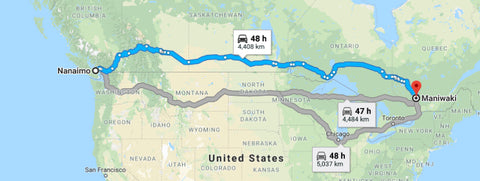 The route for Pillowpackers cross-Canada roadtrip