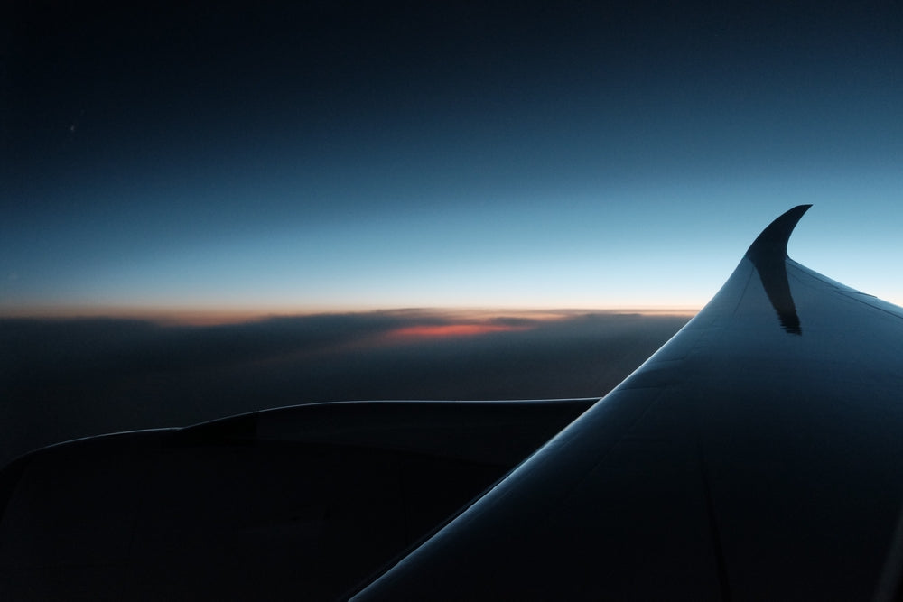 aircraft wing at dusk