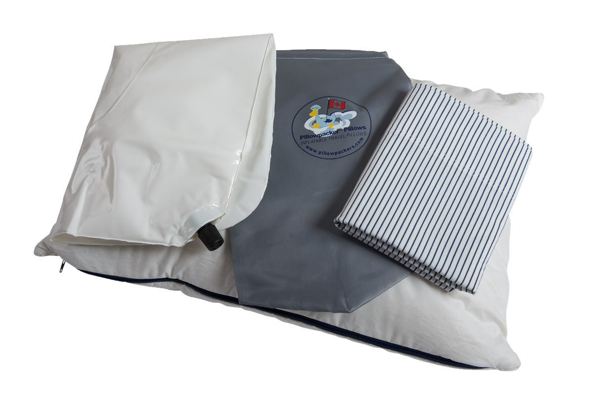 A Pillowpacker Duck down pillow with its inflatable inner core, pillowcase, and carrying case