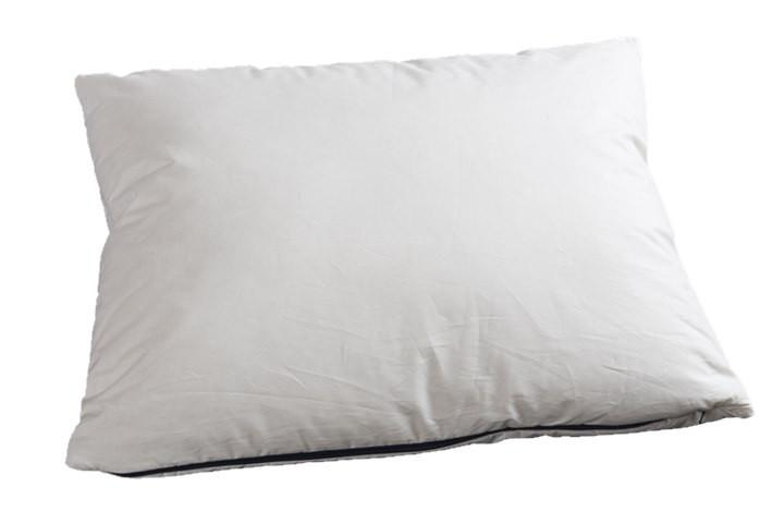 A Pillowpacker White down blend pillow and protective case pictured with a bottle of wine