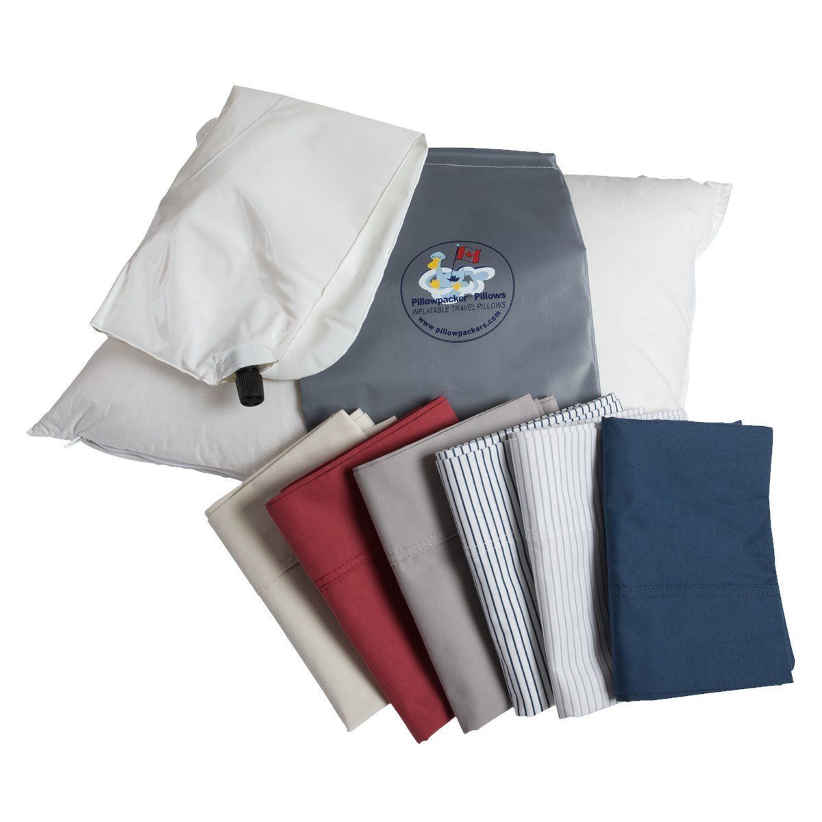 A Pillowpacker Hutterite goose down pillow with its inflatable inner core, pillowcase, and carrying cases
