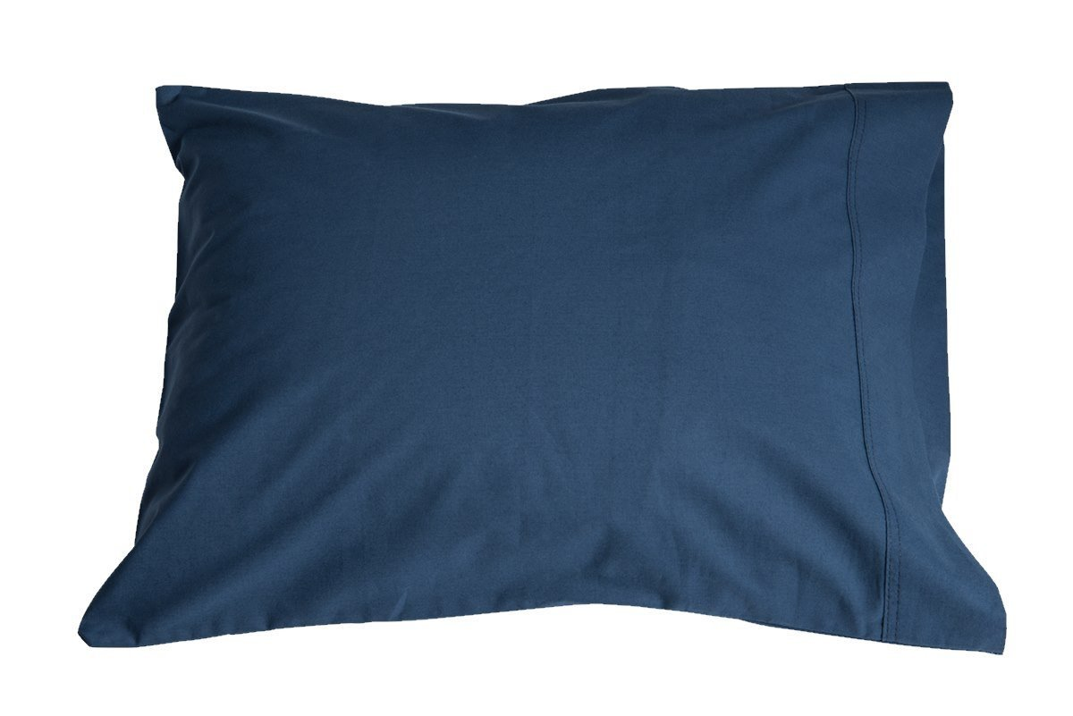 A Pillowpacker Hutterite goose down pillow with a marine blue pillowcase