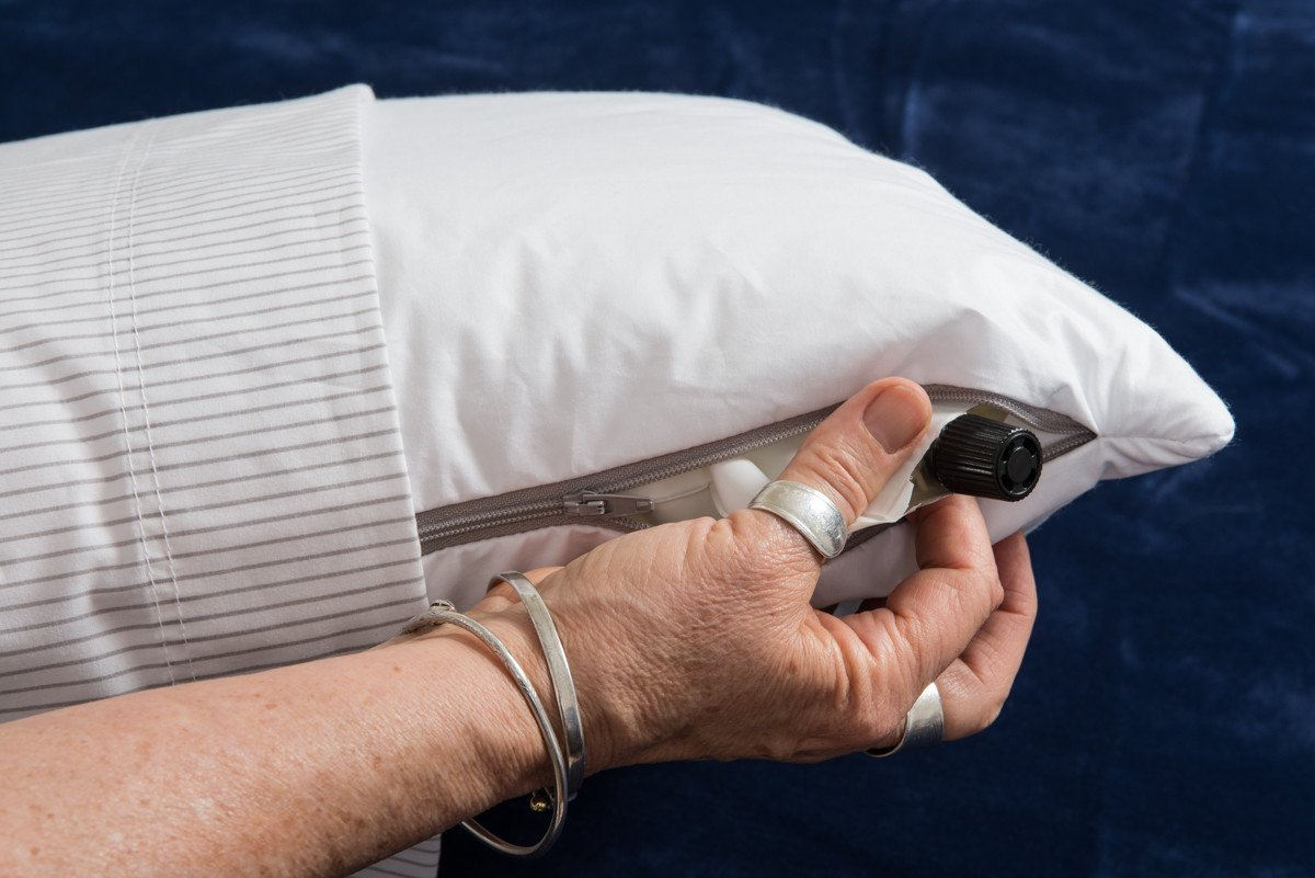The inside of a Pillowpacker Microfiber down alternative pillow